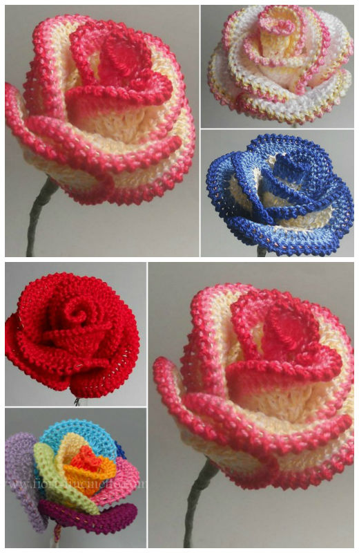 Crochet Rose Wire Petaled Rose Free Pattern