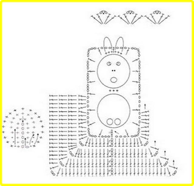 Crochet Pom Pom Bunny Square Blanket Free Pattern