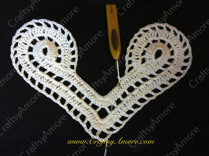 Crochet Lace Heart Motif Free Pattern for Valentine Dress