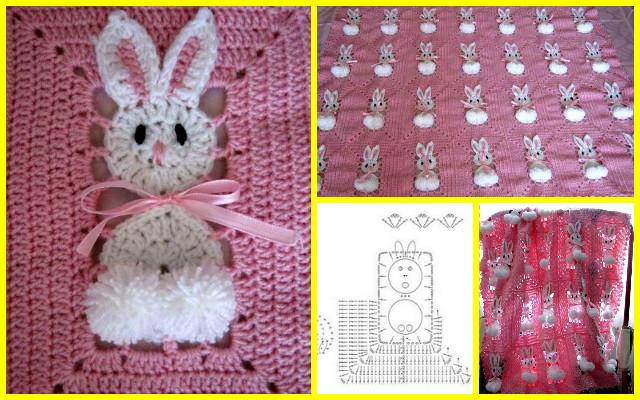 Crochet Pom Pom Bunny Square Blanket