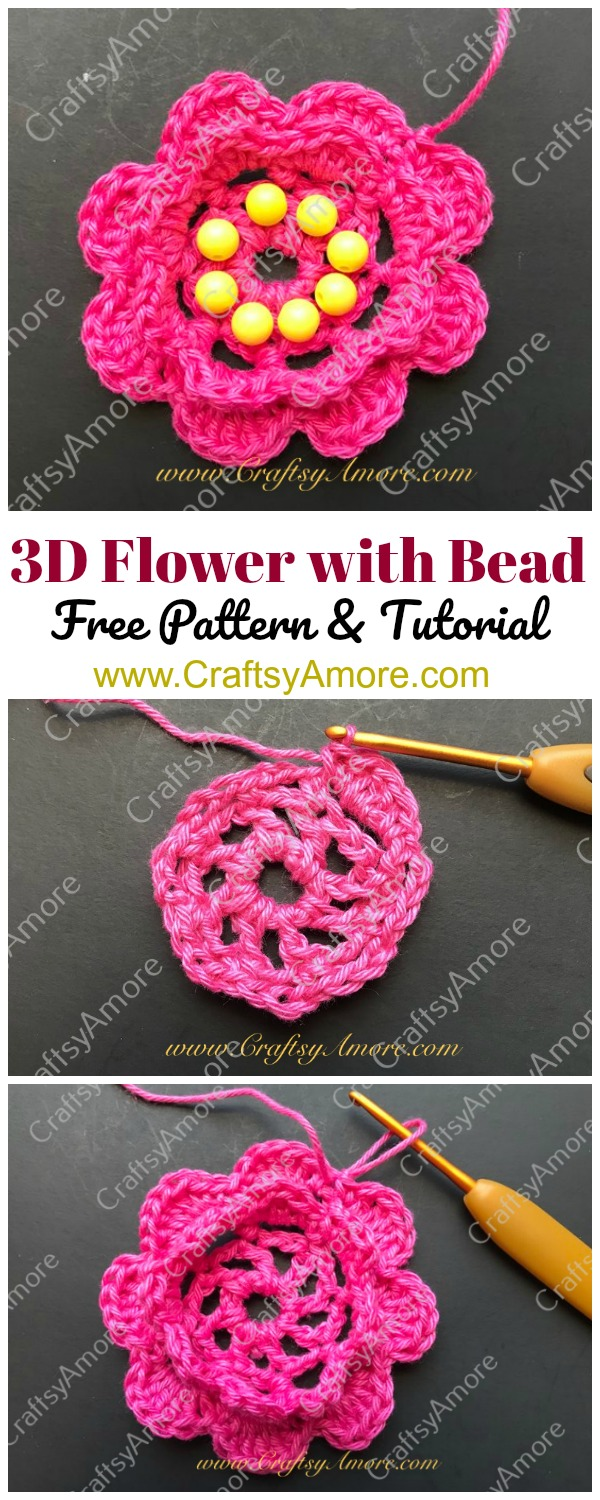 Crochet 3D Flower with Bead Free Pattern Step By Step Tutorial