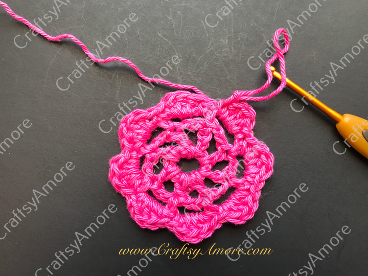 Crochet 3D Flower with Bead Free Pattern & Tutorial 4