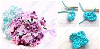 2 Easy Crochet Hydrangea Flower Free Pattern & Step by Step Tutorial