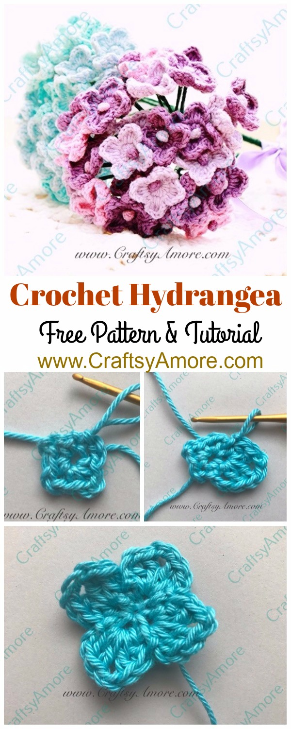 Easy Crochet Hydrangea Flower Free Pattern & Step by Step Tutorial
