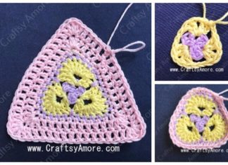 Crochet 3 Petal African Flower Triangle Free Pattern Tutorial