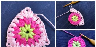 Crochet Puff Triangle Free Pattern Tutorial