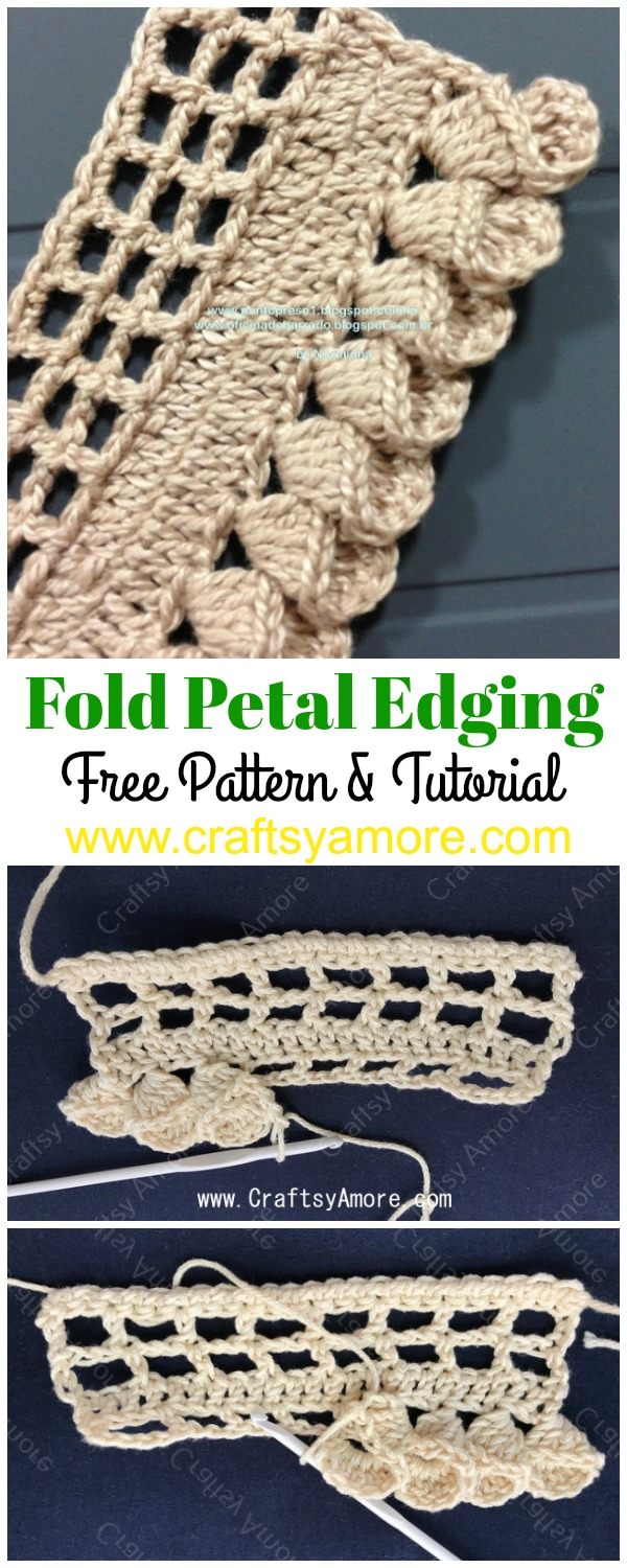 Crochet Fold Petal Edging Free Pattern & Tutorial