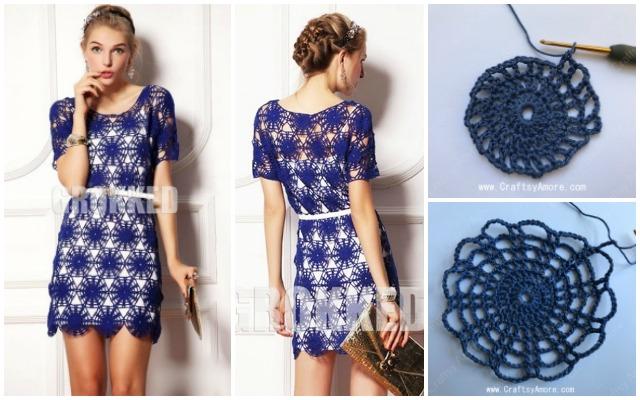 Crochet Wheel Motif Lace Dress Free Pattern Tutorial Craftsy Amore