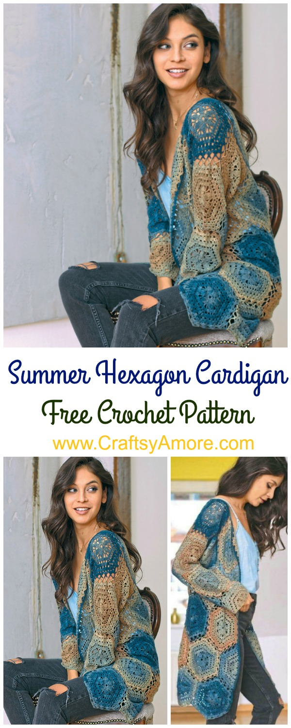 Crochet Summer Hexagon Cardigan Free Pattern