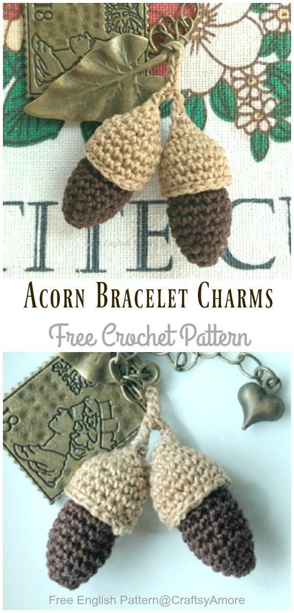 Crochet Acorn Bracelet Charms Amigurumi Free Pattern