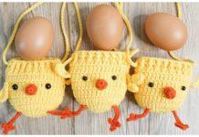 Easy Easter Chicken Egg Drawstring Pouch Free Crochet Pattern