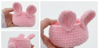 Velvet Easter Bunny Basket Free Crochet Pattern