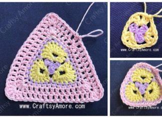Crochet 3 Petal African Flower Triangle Free Pattern Tutorial