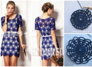 Crochet Wheel Motif Lace Dress Free Pattern & Tutorial